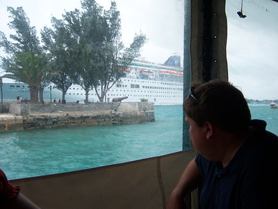 Watching the NCL Majesty arrive in St. George while having lunch at The Whitehorse.