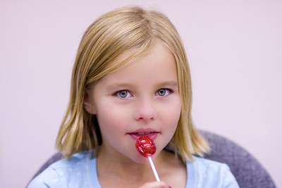 Ashley is caught red-handed with a lollypop!
