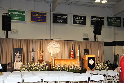 set-up for indoor graduation