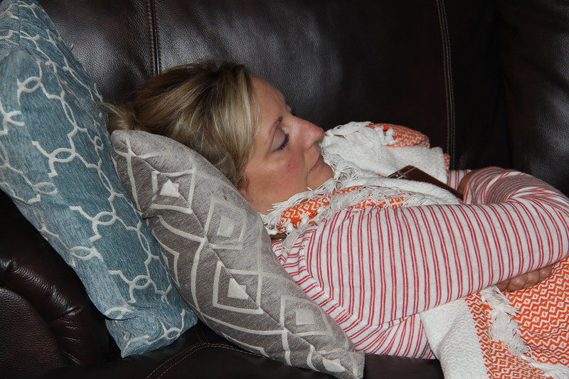 Caroline snuggles up with a bad cold
