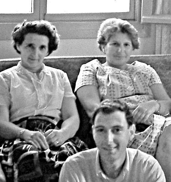 May 1959, Second cousins Anny Ascher and Ella Treibisch (rear) with Naphtali, front.