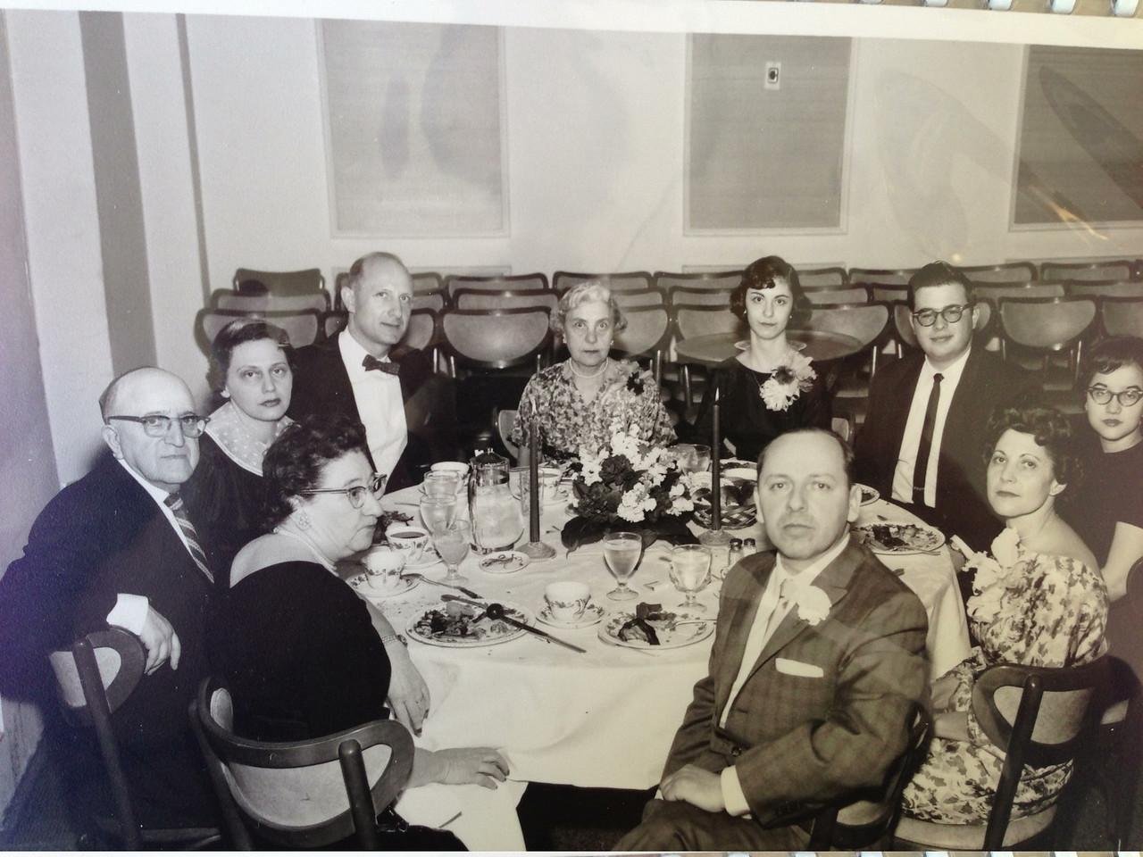(start in lower left and go clockwise) Michael Milchin (my Hebrew school teacher) and wife, Roz and Uncle Robert (Diane's oldest brother), Grandman Small, Sandy, lunatic boyfriend, ?, Diane, Bob.  David's Bar Mitzvah
