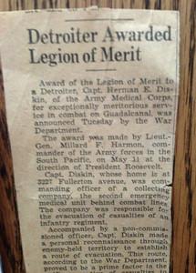 Newspaper article re Herman winning Legion of Merit award in WWII