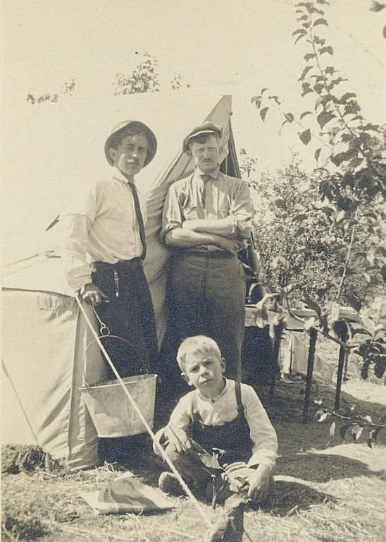 1910 Fred Camping & Working  in Alameda Orchards 2