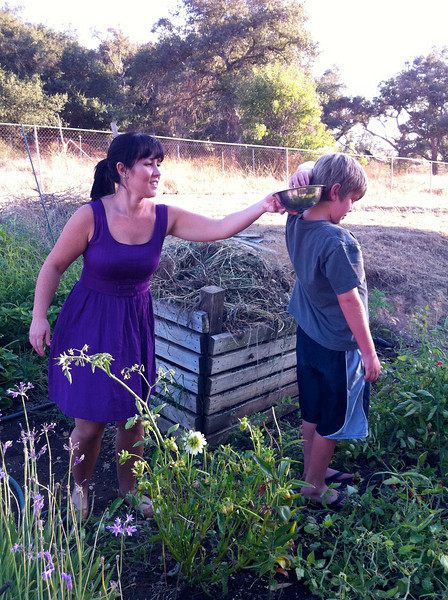 Ethan and Melissa picking tomatoes for dinner.
