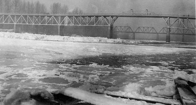 Frozen Willamette. 1924. Taken by Otto Camfield (near where the stern wheeler is currently located)