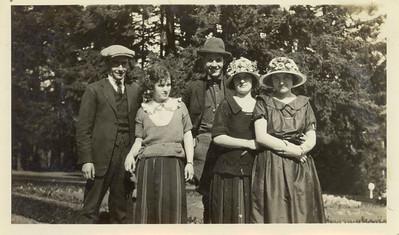 ??, Vera, Hobart, ??, Glayds (original). At Silver Falls State Park. Circa 1920