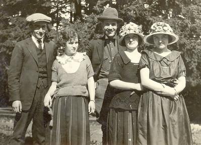 ??, Vera, Hobart, ??, Gladys (original). At Silver Falls State Park. Circa 1920. Restored