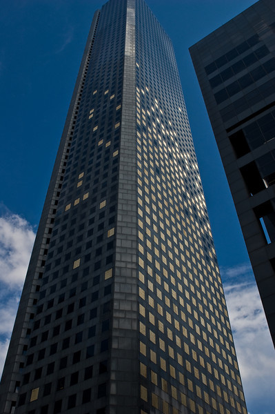 The Chase Tower.  Glass was out mostly on the first 40 floors.  The engineers created an assembly line to cut the plywood.  Hundreds of pieces were cut.