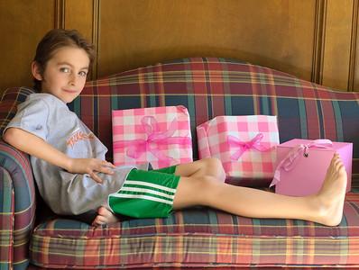 Patrick with Caroline's presents.
