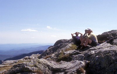 Duncan and Joshua taking in the view at the summit of Mt Mansfield