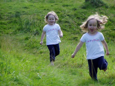 Running downhill during the picnic near Glasgow.