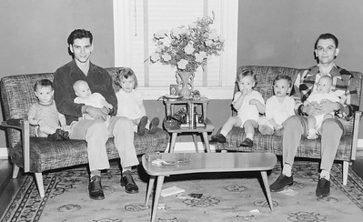 Uncle Rich with Mike, Pat, Terry; Dad with Bobbie, me, Jim (1954)