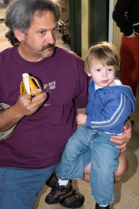 Dad, you better eat a lot of the banana, I'm getting the biggest pumpkin you can carry!