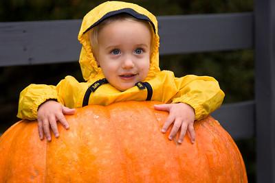 Tobin in a pumpkin