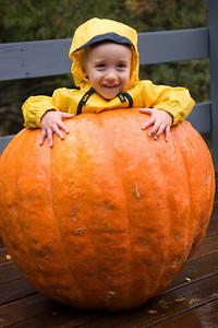 Just a boy and his pumpkin