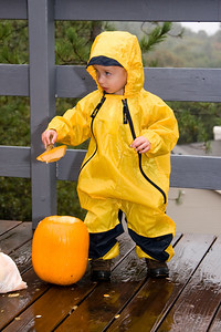 The muddy buddy suit is good for just about everything, even pumpkin carving!