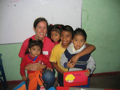 Catherine and her students in Guatemala, summer 2009