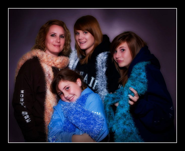 The Watson ladies modeling their Hawaii wear hoodies and the handmade custom scarves