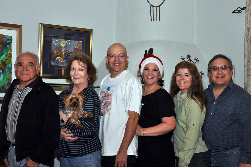 "Christmas 2010 in Santa Fe, NM. Left to right: Frank (dad), Mary (mom, holding ""Henry""), Chris (brother), Karen (sister), Liz (sister) and Rick (me)."