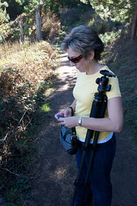 "My trusty assistant texting the ""kids"" during a hike."