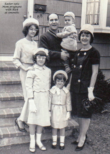 From left to right, my sister Gayle, Debbie, Kim, Mom (Irene Brown) and Dad (Frank Monsipapa) holding me (Rob), not in picture is Rick (5 months along)...  :-)