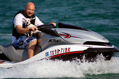 Jeff and Snoopy on the jet ski at Canyon Lake