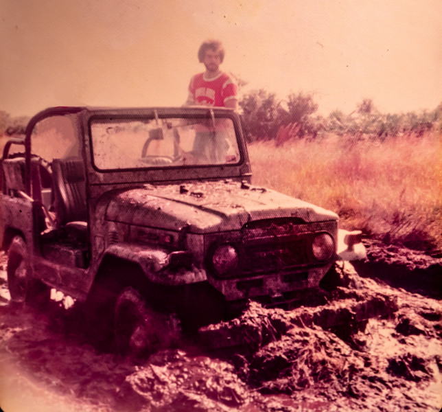Ron's ex-brother-in-law with Ron's 1973 fj40 Toyota Land Cruiser back in 1975 at Fisheating Creek, Florida near Palmdale, Florida.  And NO we were not stuck.  Just some good ol boys having fun.