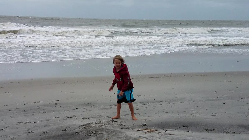Gideon on the beach the day before Hurricane Irma arrived
