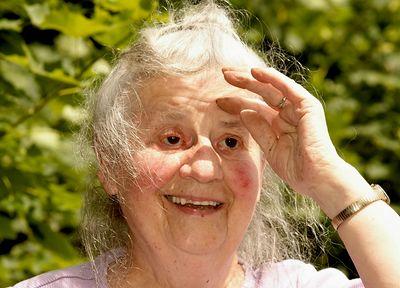 Grandma in Jenny's garden at 89 years old.