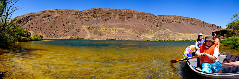 Rowing at park lake <br /> <br /> Handheld panoramic taken around park lake at the Sun Lakes/Dry Falls State Park