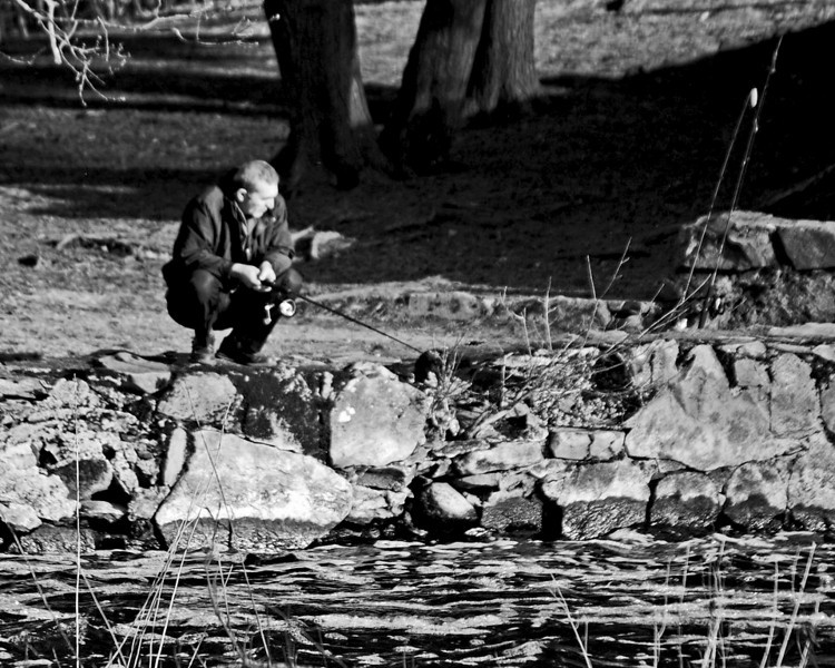 Man fishing on the Charles in South Natick<br /> <br /> Sony A200 with Quantaray 70-300 LDO