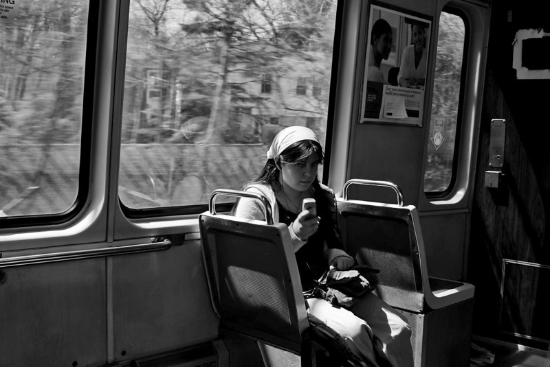 MassBay college student on T to Fogg Museum at Hardvard<br /> <br /> Sony A200 with 28-70 2.8