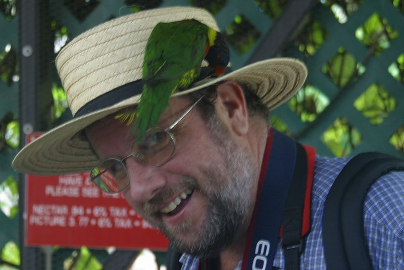 My cousin, Wayne, getting up close and personal with a tropical bird at Butterfly World in Ft. Lauderdale.