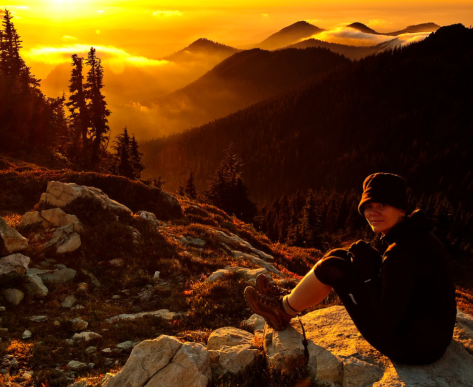 "This is my wife contemplating an amazing sunset from top of Spray Park at Mount Rainier National Park.  This was her first ever overnight hike and was a success, so next summer will do a few of these :-)  The other reason this was a success is because I just learned this photo won second place in this year's Washington Trails Association (WTA) 2009 Photo contest, Northwest Exposure 2009 ""Hikers in action"" category. It was a nice surprise on the mail as they didn't send an e-mail to notify. I got a pretty cool book to enjoy more our hikes, a 6 month suscription to ""picknic"" and my photo was published in WTA's physical bimonthly magazine. This is my wife contemplating an amazing sunset from top of Spray Park at Mount Rainier National Park.  update: WTA has their own flickr stream and they also posted my photo, here <a href=""http://www.flickr.com/photos/29468641@N04/4015472309/in/set-72157623014404562/"">www.flickr.com/photos/29468641@N04/4015472309/in/set-7215...</a>"