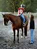 My sister, Robin, giving some helpful instruction to my niece, Haley, as she gets ready to give their horse, Big, a workout.