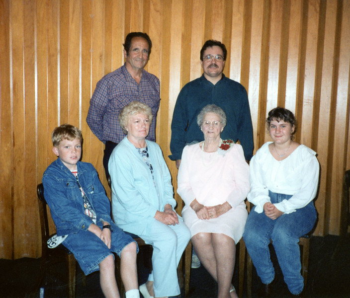 Grandma Wilson and one branch of her family - Noman, Alan, Travis, Velma, Grandma, Rebecca.