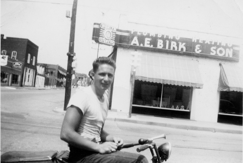 Dad on his motor cycle.<br /> Love this shot.