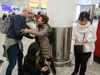 Bobo, Simon and Iyla arrive back to Heathrow