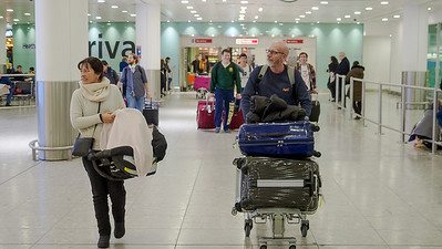 Bobo, Simon and Iyla arrive back to Heathrow