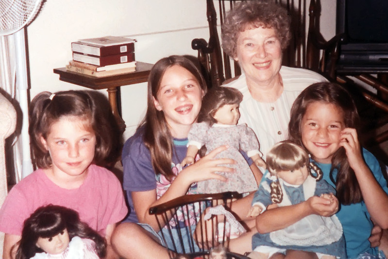 Grandma Cherry, Elisabeth, Mary Katherine &  Isabel have tea party with the American Girl Dolls in Laguna Hills, Ca.