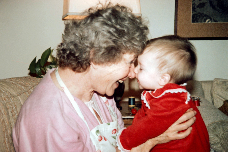 Grandma Cherry Balyeat enjoys her first granddaughter, Elisabeth Ann Morrison (almost 9 mos.) at her home in Tustin, Ca.