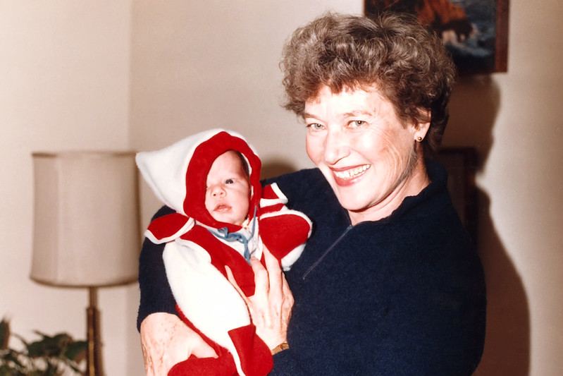 Grandma Cherry holds her 3rd grandchild, Andy, at Thanksgiving in her home in Incline Village