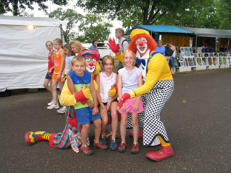 Northern Wisconsin State Fair. Dusty and Trouble the clowns