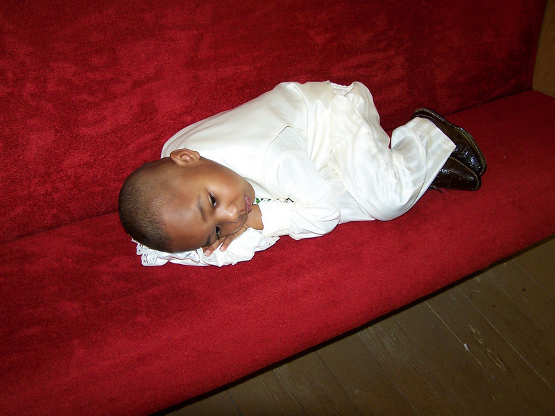 My grandson Damon tried from being a Ringbarrier in his Great-Grandmothers Wedding March 7, 2009