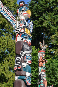 Famous Totem poles in Stanley park, Vancouver BC