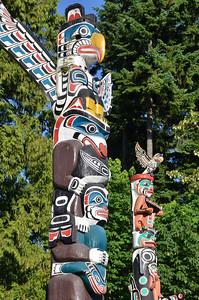 Famous Totem poles in Stanley park, Vancouver BC
