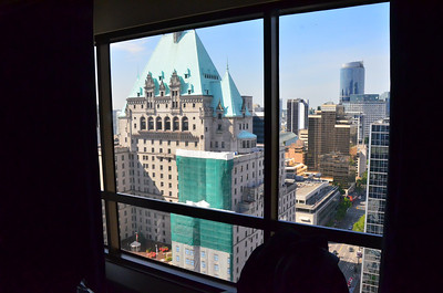 View from our hotel room at the Hyatt Regency 26 floor, Vancouver BC.  Got a half price room for the night of May 30, 2014