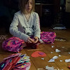 Making valentines for her second grade class