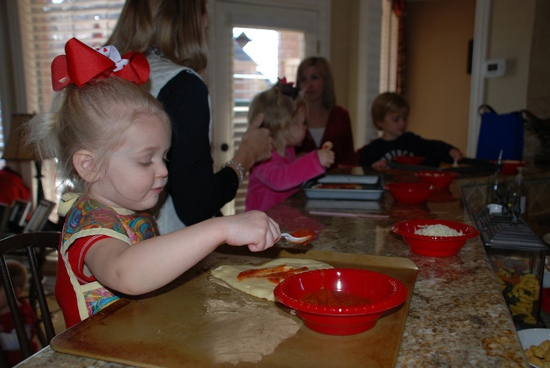 We hosted playgroup today at our house and made heart pizzas for lunch!